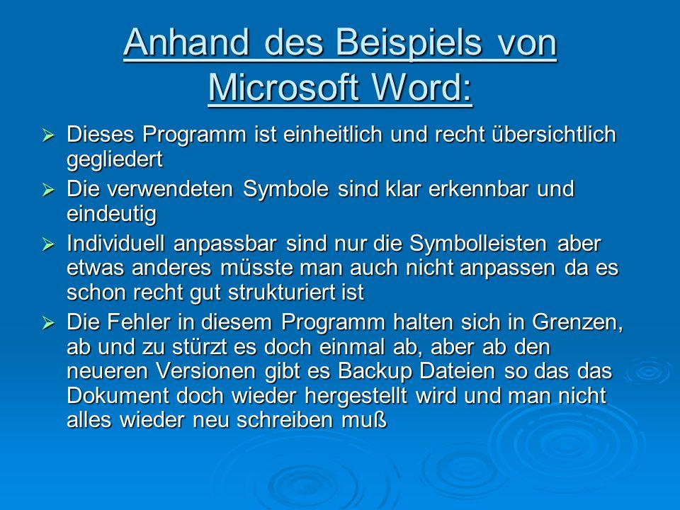 Anhand des Beispiels von Microsoft Word: