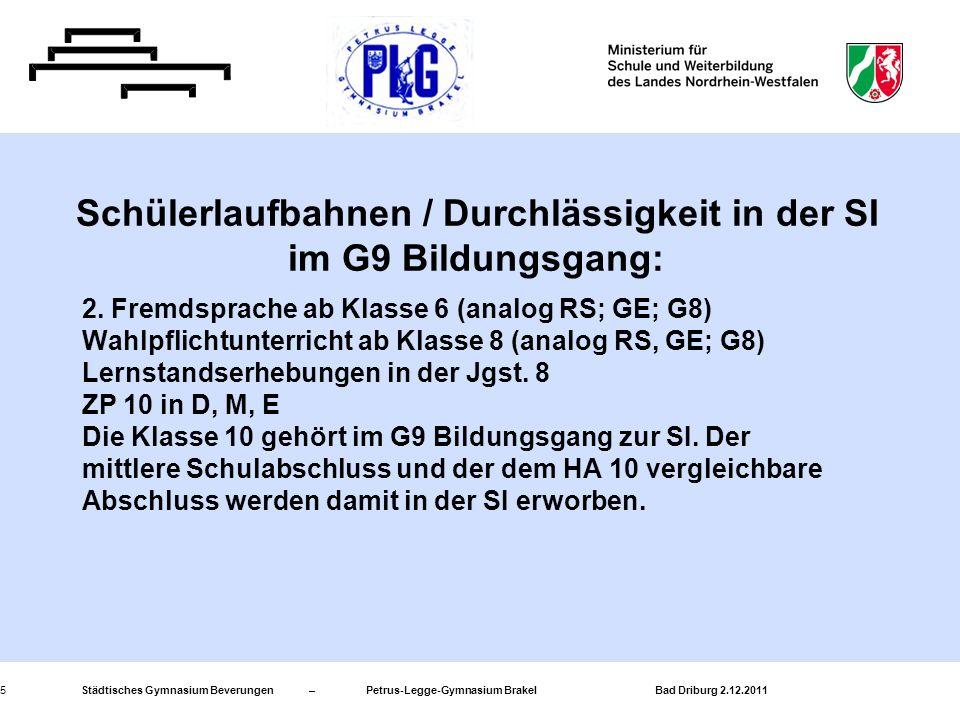 Schülerlaufbahnen / Durchlässigkeit in der SI im G9 Bildungsgang: