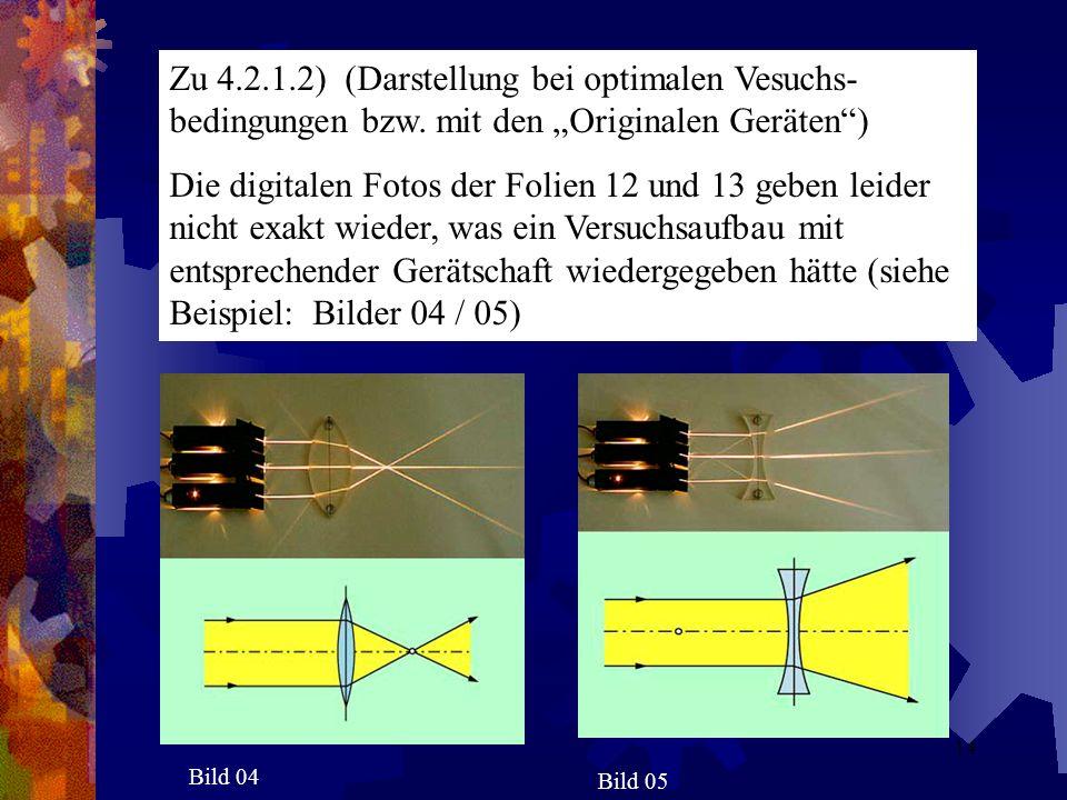 Zu 4. 2. 1. 2) (Darstellung bei optimalen Vesuchs-bedingungen bzw