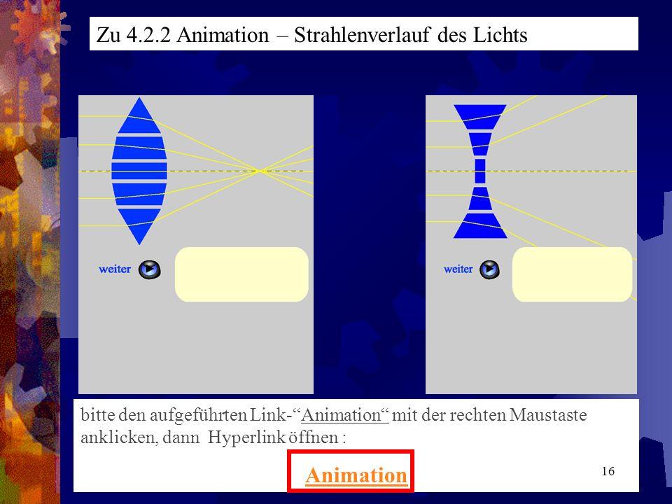 Zu 4.2.2 Animation – Strahlenverlauf des Lichts