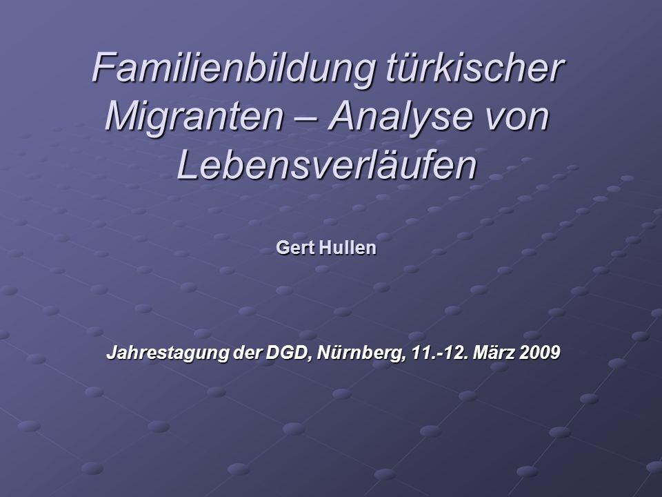 Familienbildung türkischer Migranten – Analyse von Lebensverläufen Gert Hullen