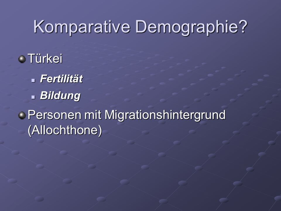 Komparative Demographie