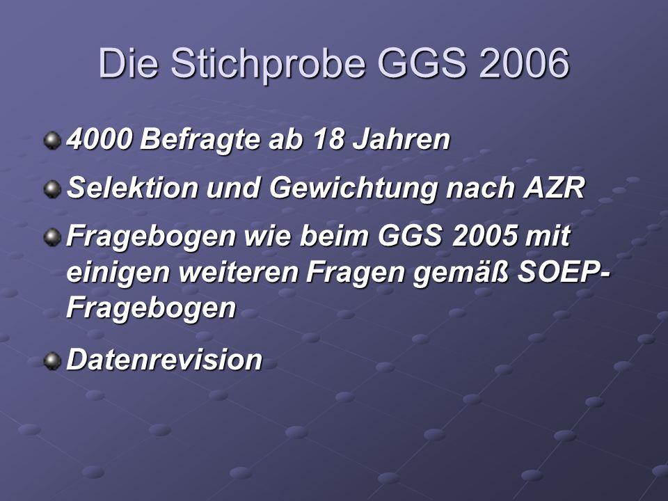 Die Stichprobe GGS 2006 4000 Befragte ab 18 Jahren