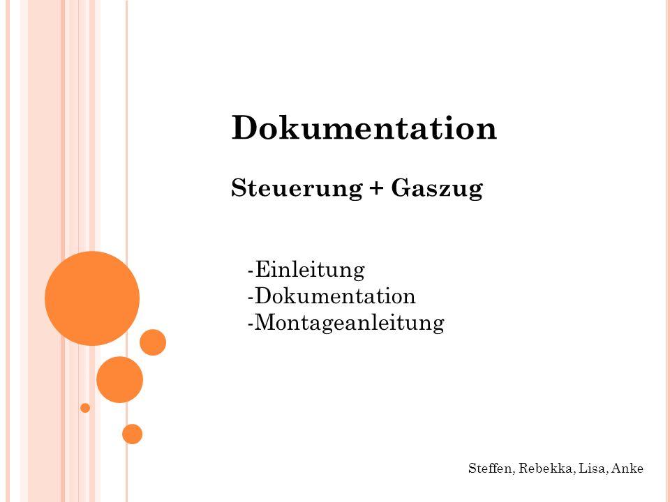 Dokumentation Steuerung + Gaszug -Einleitung -Dokumentation
