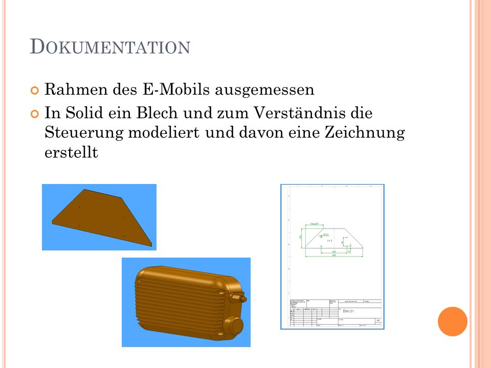Dokumentation Rahmen des E-Mobils ausgemessen