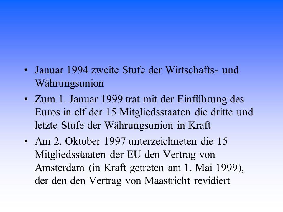 Januar 1994 zweite Stufe der Wirtschafts- und Währungsunion