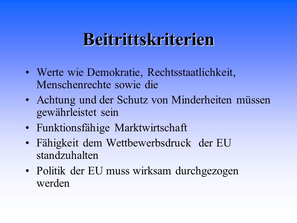 BeitrittskriterienWerte wie Demokratie, Rechtsstaatlichkeit, Menschenrechte sowie die.
