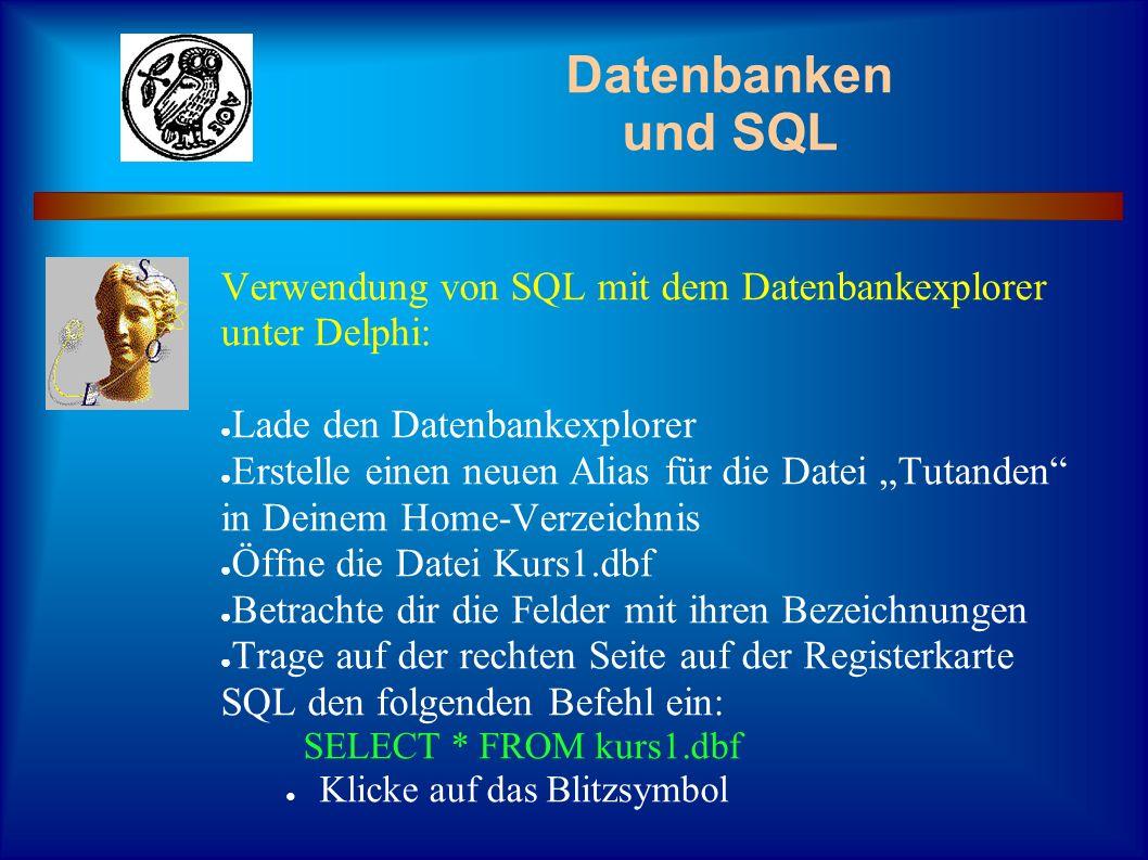 Datenbanken und SQL Verwendung von SQL mit dem Datenbankexplorer unter Delphi: Lade den Datenbankexplorer.