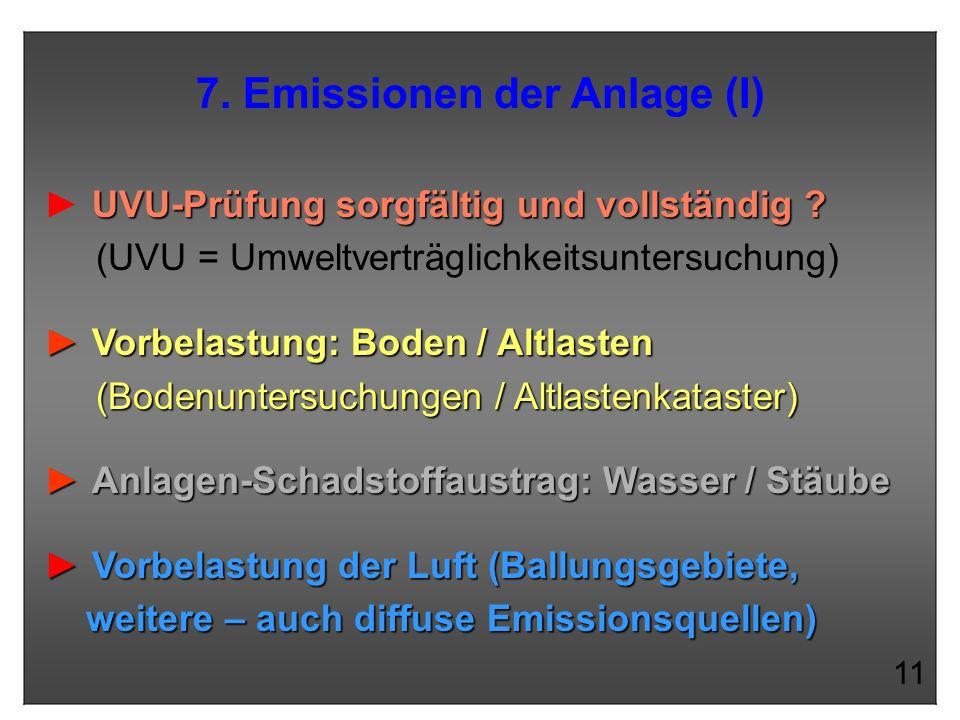 7. Emissionen der Anlage (I)