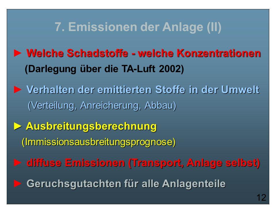 7. Emissionen der Anlage (II)