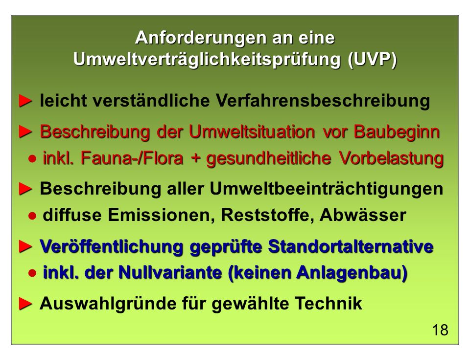 Anforderungen an eine Umweltverträglichkeitsprüfung (UVP)