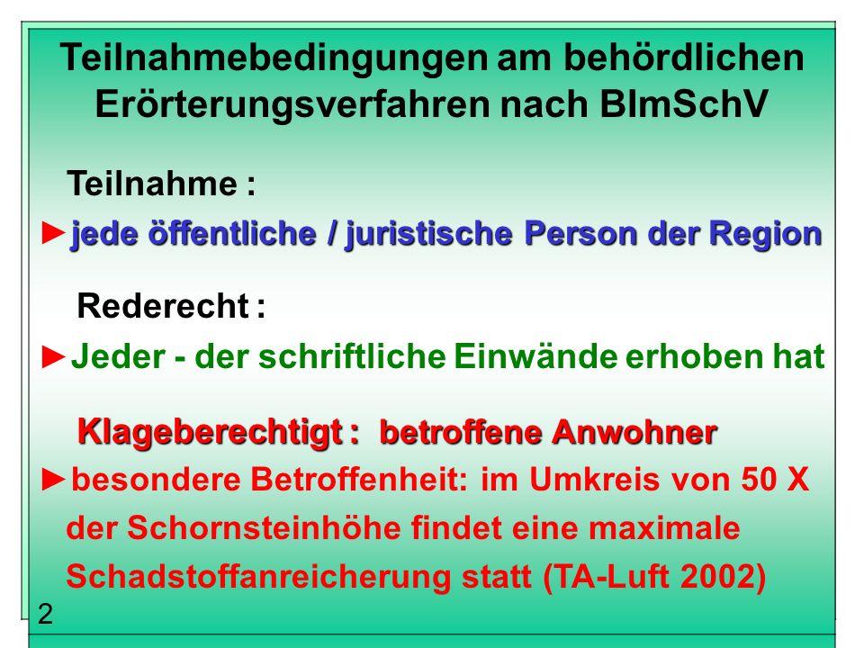 Teilnahmebedingungen am behördlichen Erörterungsverfahren nach BImSchV
