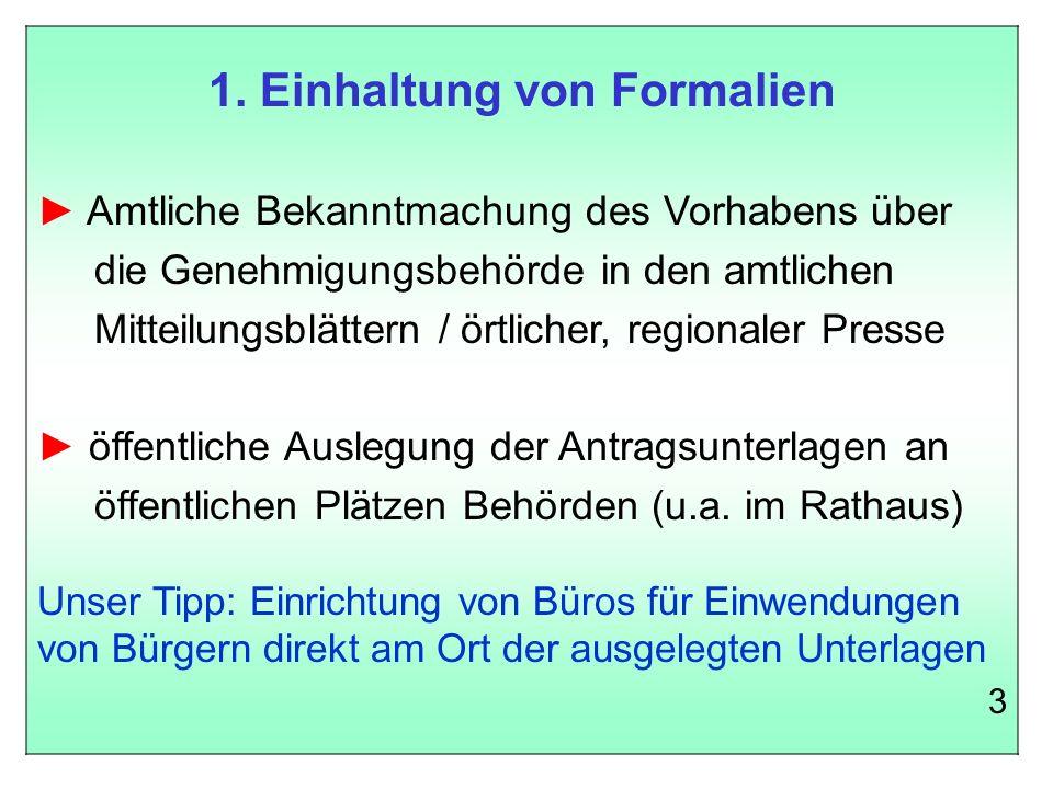 1. Einhaltung von Formalien
