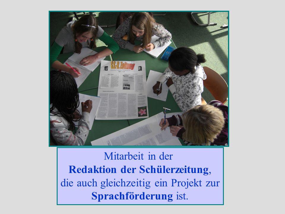 Redaktion der Schülerzeitung, die auch gleichzeitig ein Projekt zur