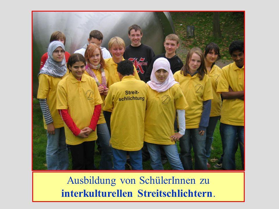Ausbildung von SchülerInnen zu interkulturellen Streitschlichtern.