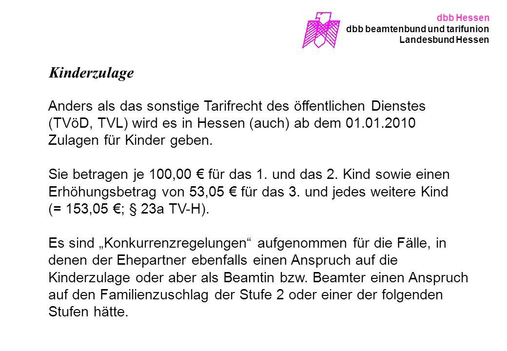 dbb Hessen dbb beamtenbund und tarifunion. Landesbund Hessen. Kinderzulage.