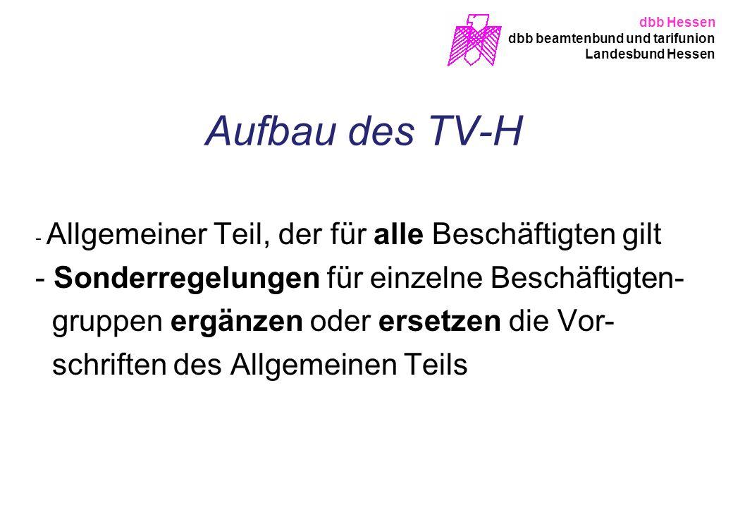 Aufbau des TV-H Sonderregelungen für einzelne Beschäftigten-