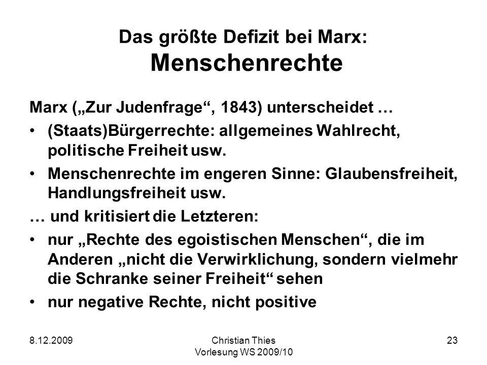 Das größte Defizit bei Marx: Menschenrechte