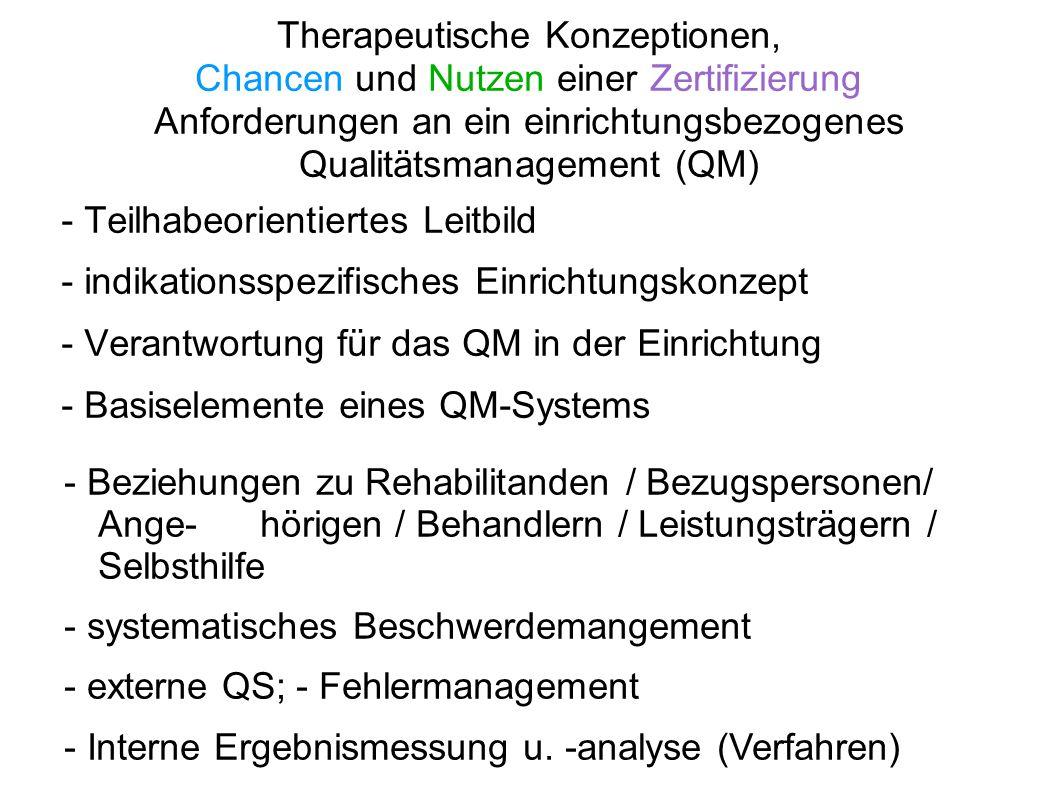 Therapeutische Konzeptionen, Chancen und Nutzen einer Zertifizierung Anforderungen an ein einrichtungsbezogenes Qualitätsmanagement (QM)