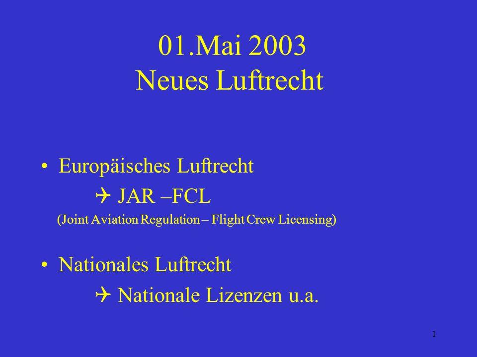 01.Mai 2003 Neues Luftrecht Europäisches Luftrecht  JAR –FCL