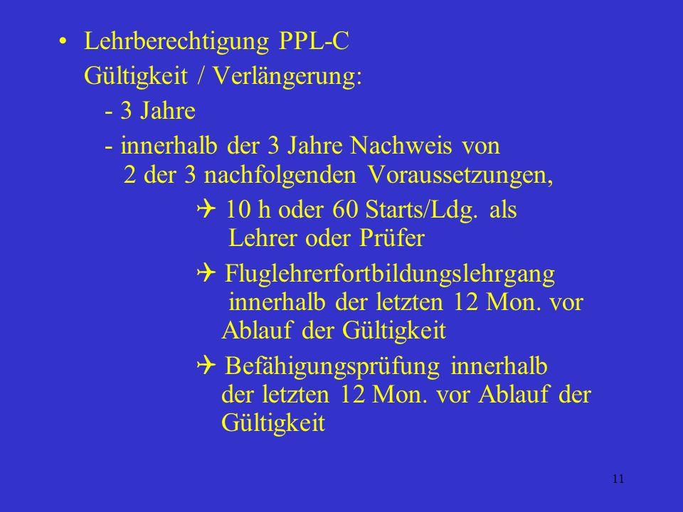 Lehrberechtigung PPL-C