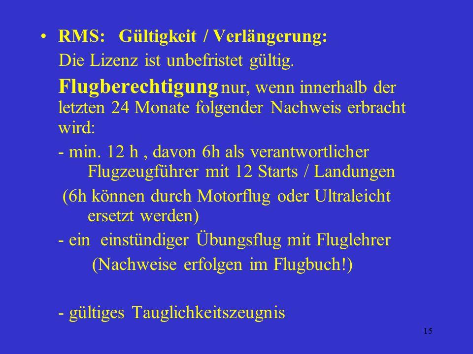 RMS: Gültigkeit / Verlängerung: