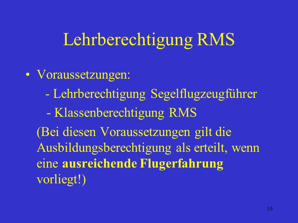 Lehrberechtigung RMS Voraussetzungen: