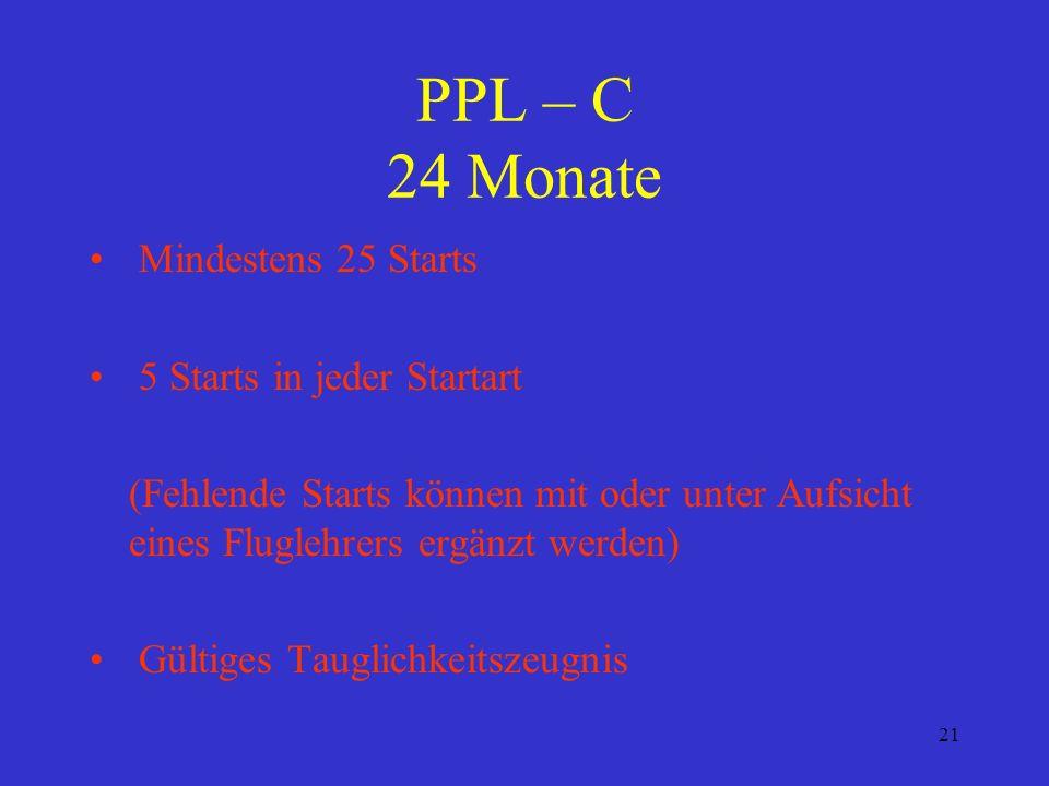 PPL – C 24 Monate Mindestens 25 Starts 5 Starts in jeder Startart
