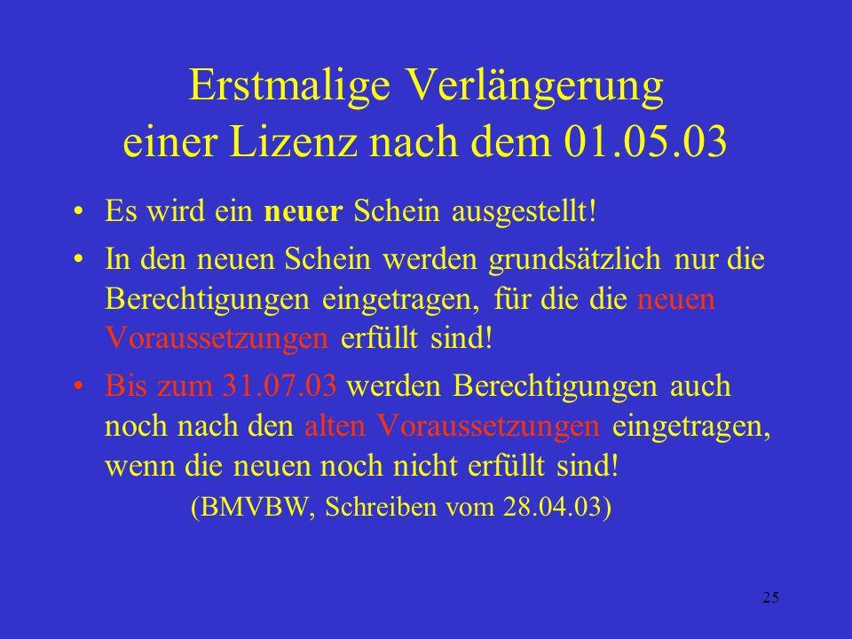 Erstmalige Verlängerung einer Lizenz nach dem 01.05.03