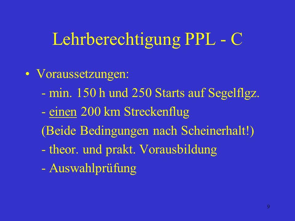 Lehrberechtigung PPL - C