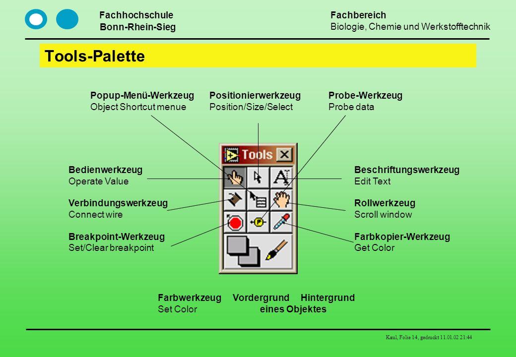 Tools-Palette Popup-Menü-Werkzeug Positionierwerkzeug Probe-Werkzeug