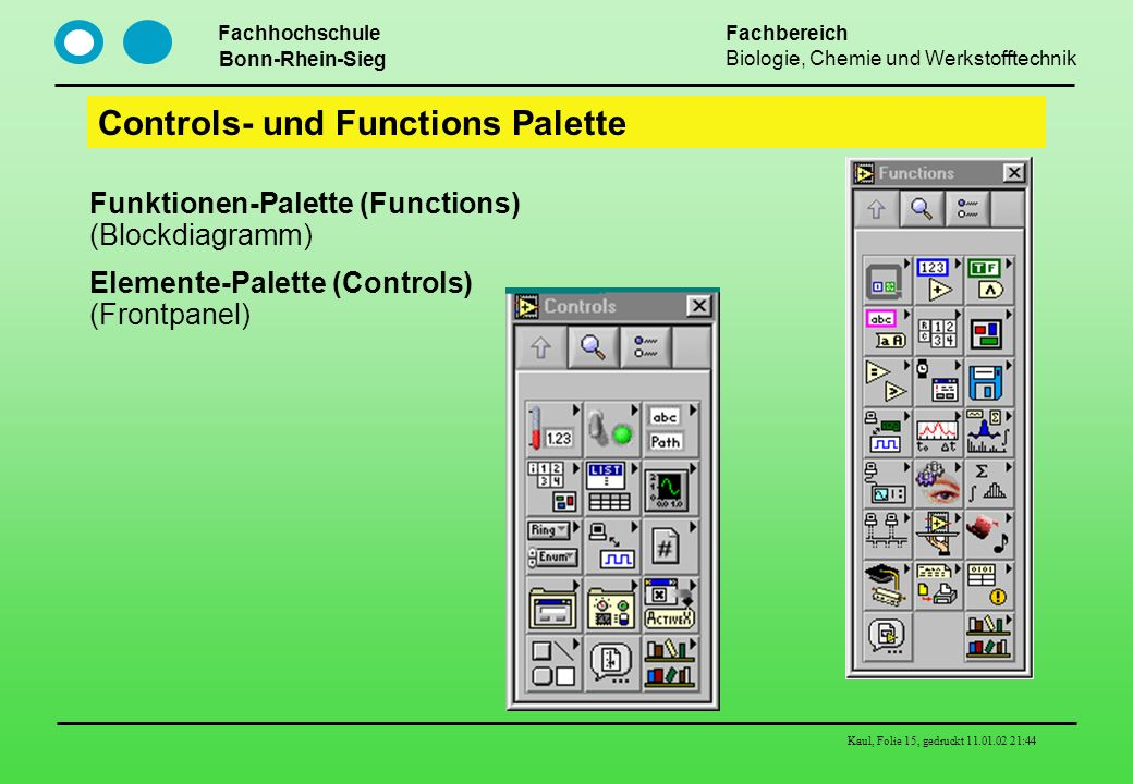 Controls- und Functions Palette