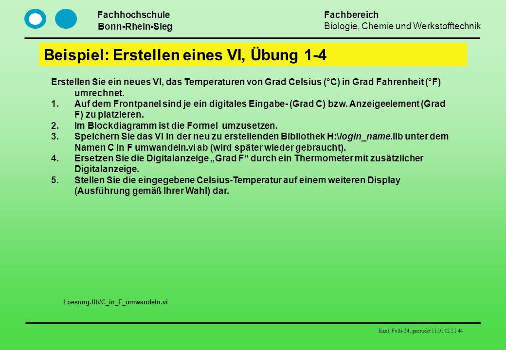 Beispiel: Erstellen eines VI, Übung 1-4