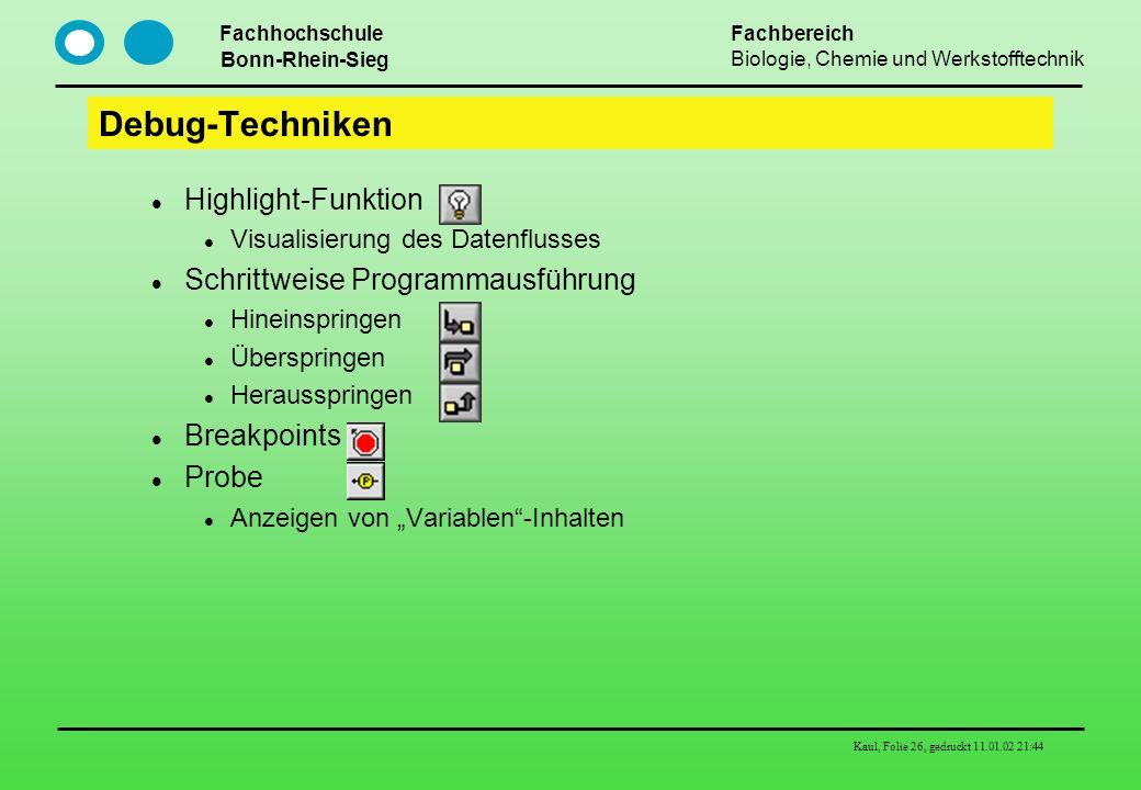 Debug-Techniken Highlight-Funktion Schrittweise Programmausführung