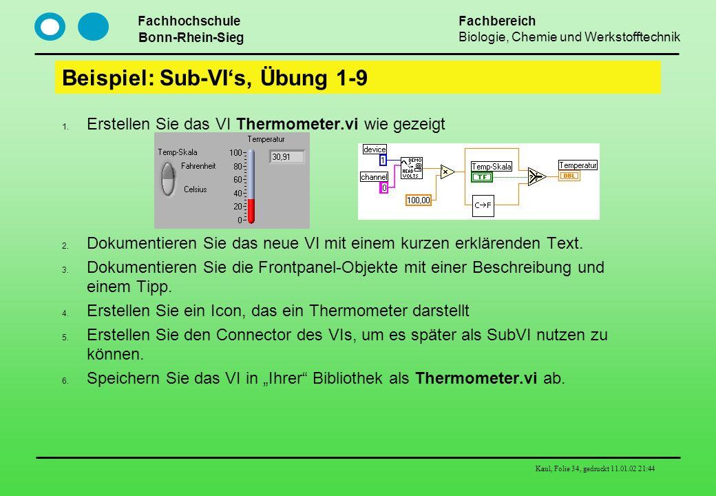 Beispiel: Sub-VI's, Übung 1-9