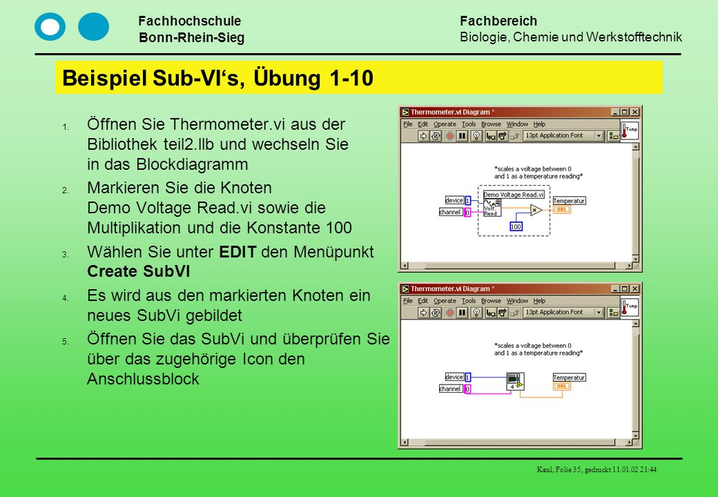 Beispiel Sub-VI's, Übung 1-10