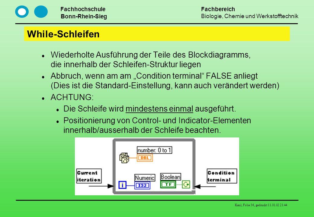 While-Schleifen Wiederholte Ausführung der Teile des Blockdiagramms, die innerhalb der Schleifen-Struktur liegen.