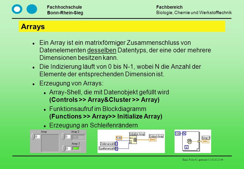 Arrays Ein Array ist ein matrixförmiger Zusammenschluss von Datenelementen desselben Datentyps, der eine oder mehrere Dimensionen besitzen kann.