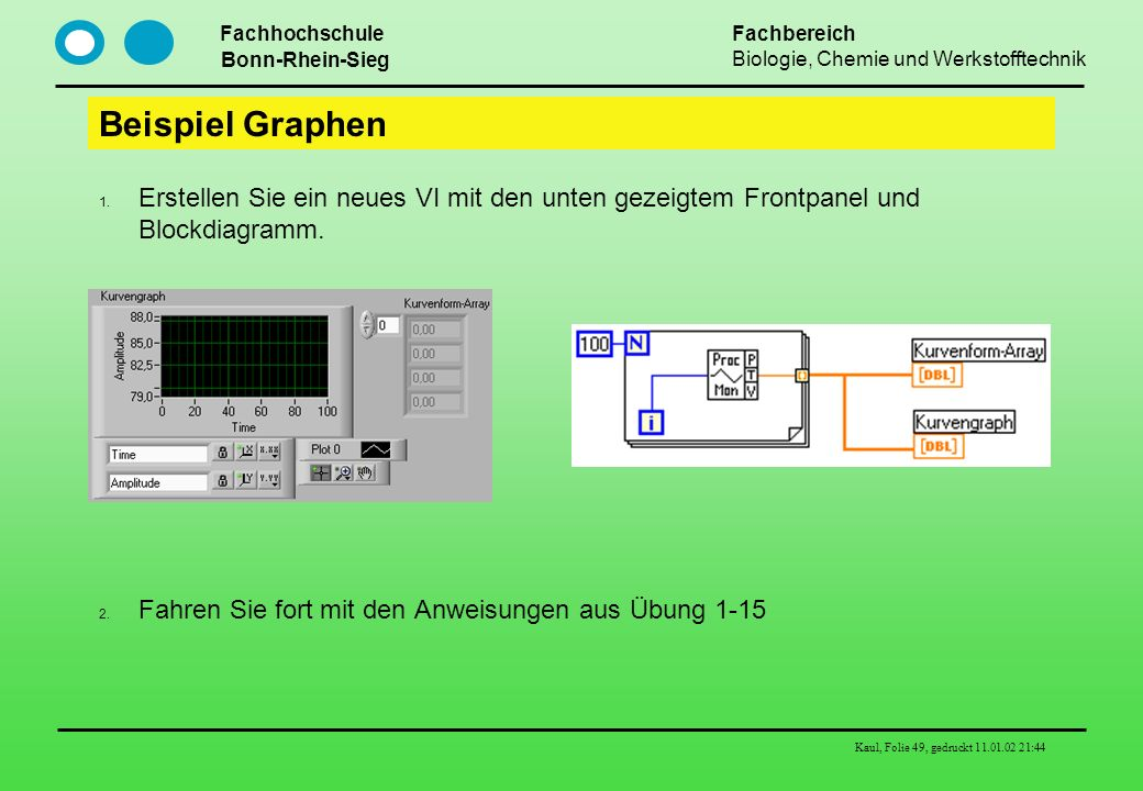 Beispiel Graphen Erstellen Sie ein neues VI mit den unten gezeigtem Frontpanel und Blockdiagramm.