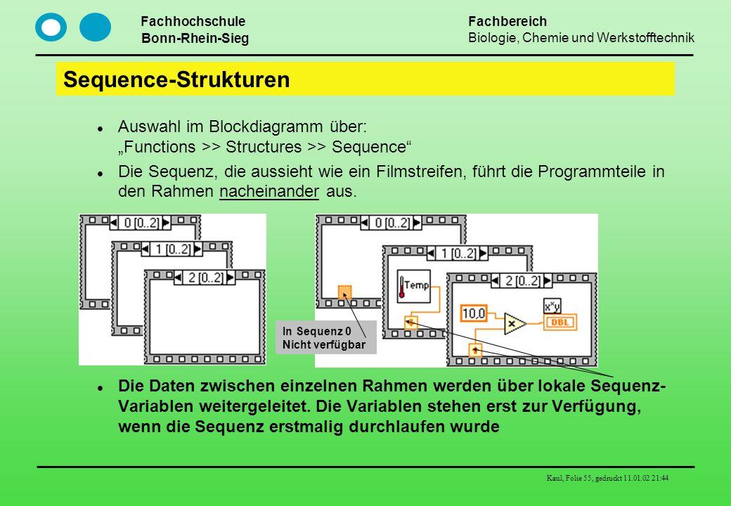 """Sequence-Strukturen Auswahl im Blockdiagramm über: """"Functions >> Structures >> Sequence"""