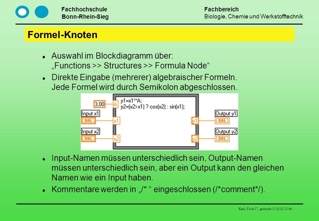 """Formel-Knoten Auswahl im Blockdiagramm über: """"Functions >> Structures >> Formula Node"""