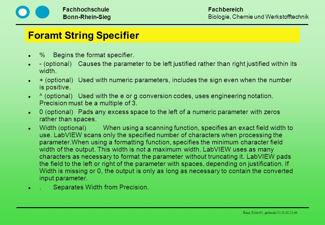 Foramt String Specifier