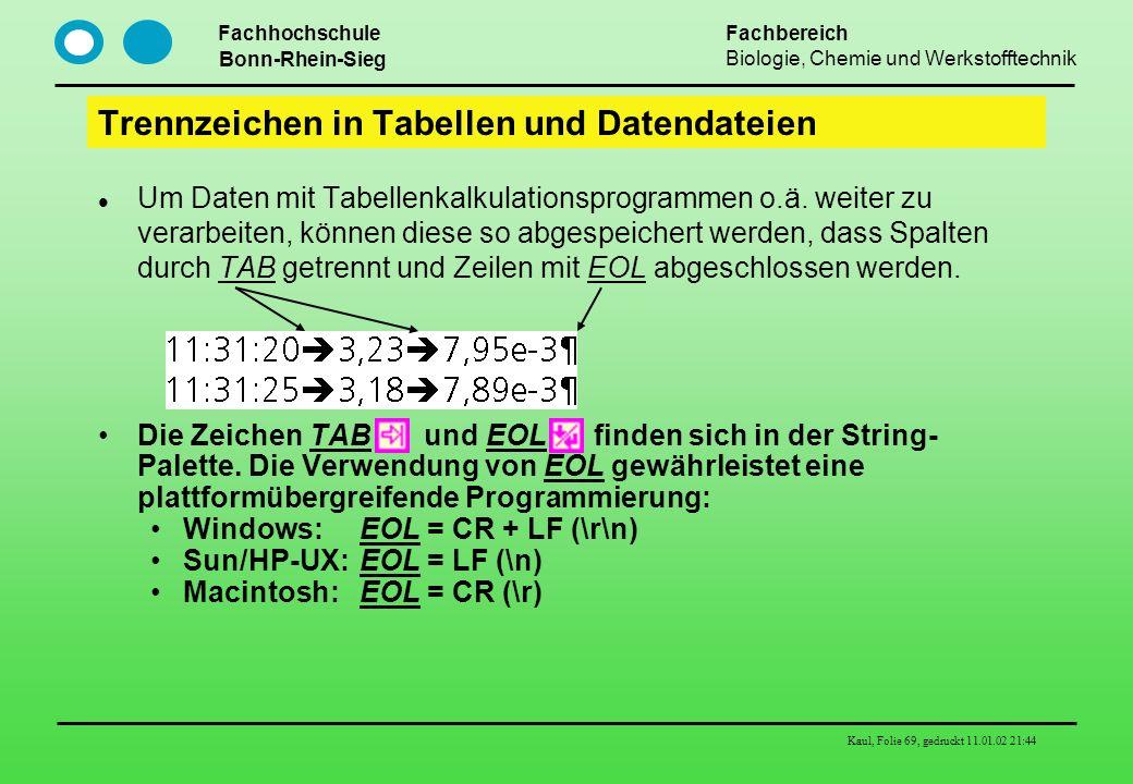 Trennzeichen in Tabellen und Datendateien