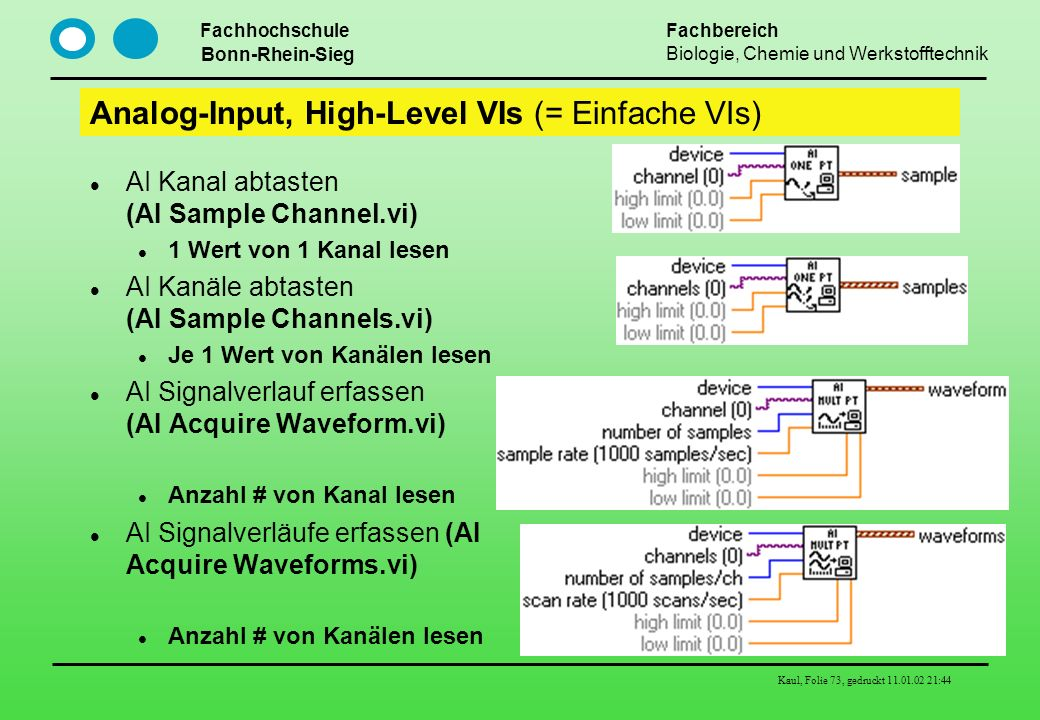 Analog-Input, High-Level VIs (= Einfache VIs)