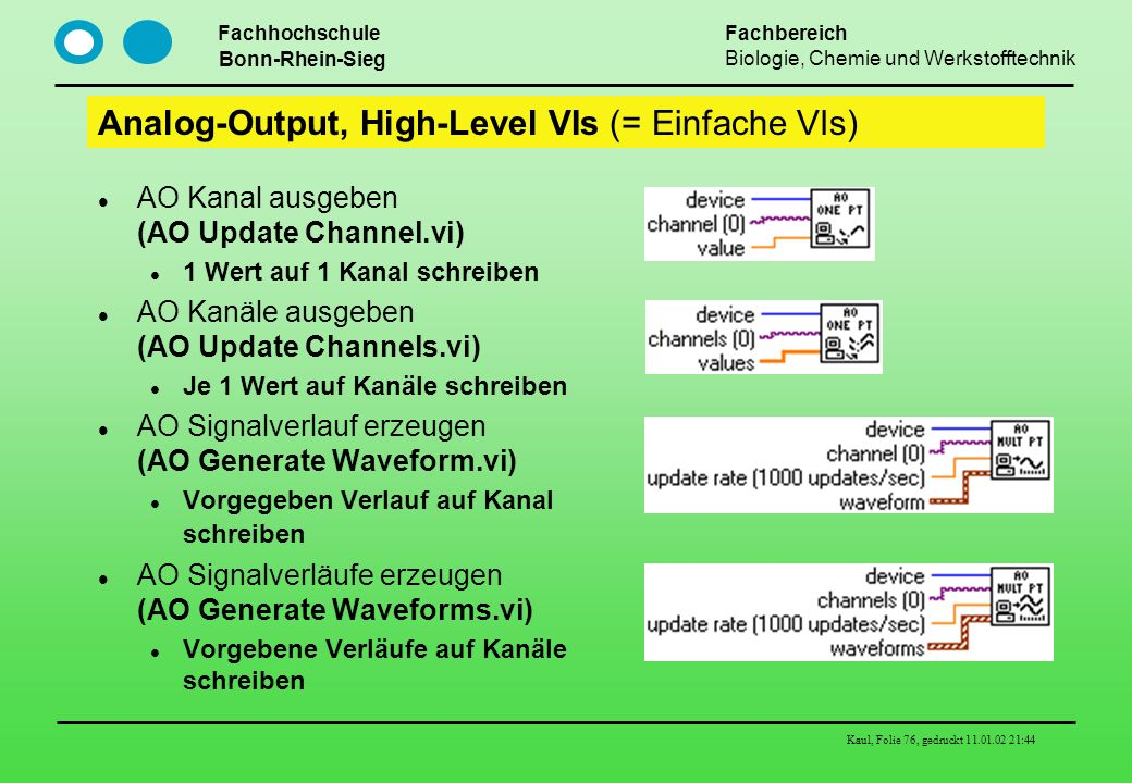Analog-Output, High-Level VIs (= Einfache VIs)