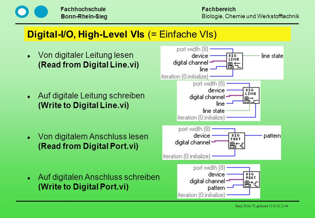 Digital-I/O, High-Level VIs (= Einfache VIs)