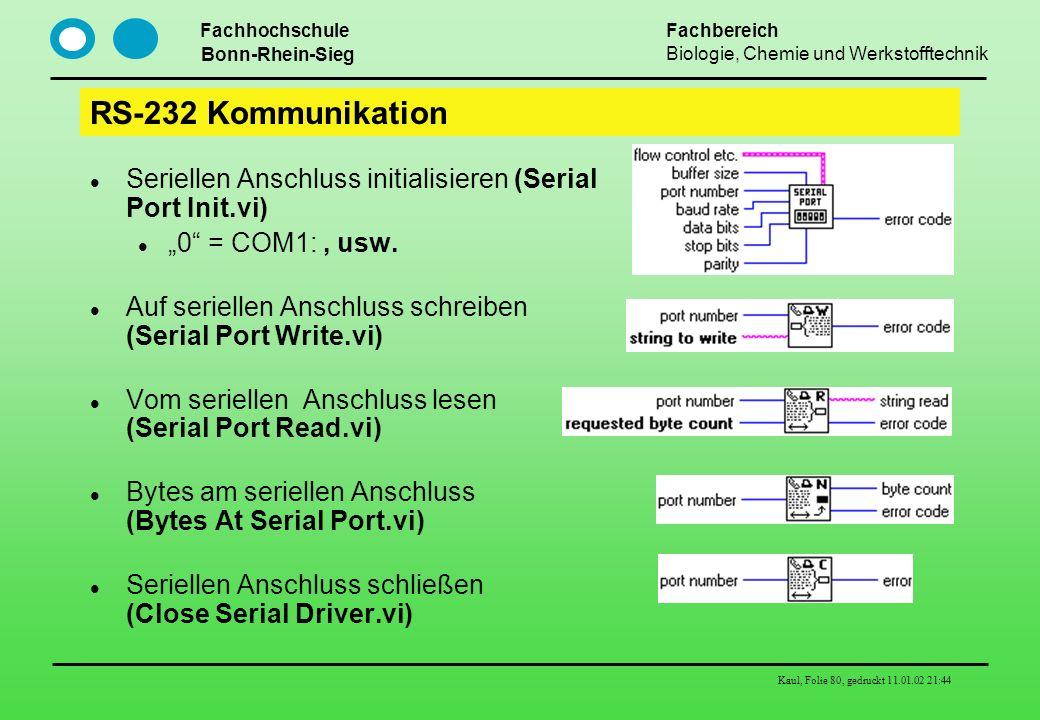 "RS-232 Kommunikation Seriellen Anschluss initialisieren (Serial Port Init.vi) ""0 = COM1: , usw."