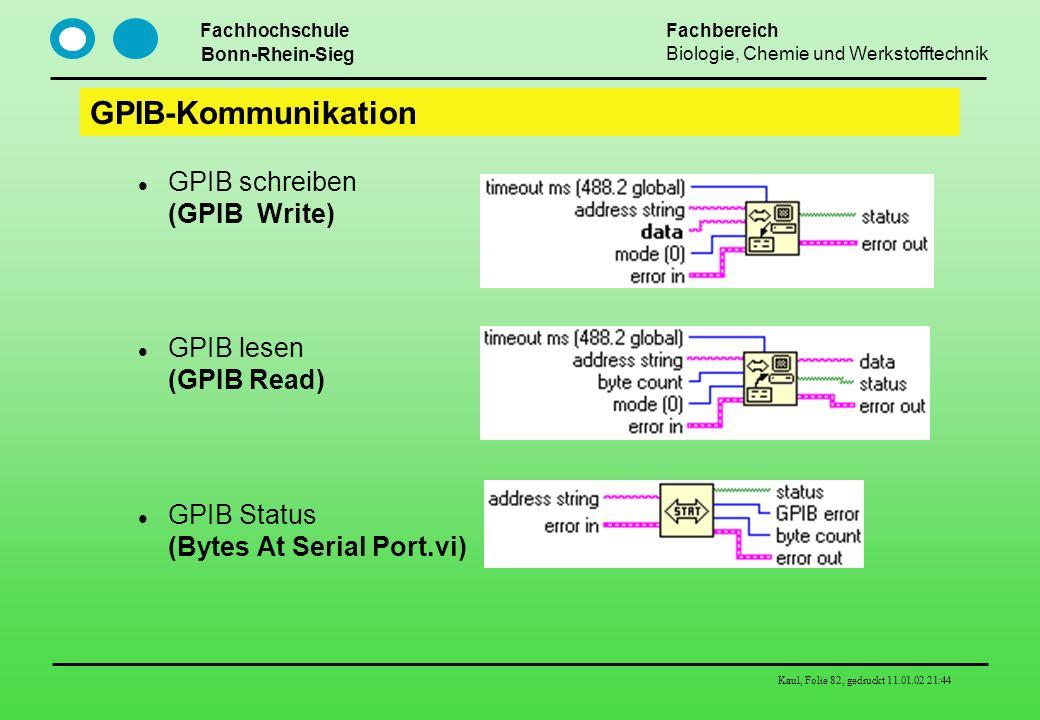 GPIB-Kommunikation GPIB schreiben (GPIB Write) GPIB lesen (GPIB Read)
