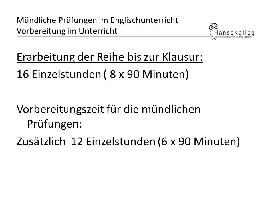 Mündliche Prüfungen im Englischunterricht Vorbereitung im Unterricht
