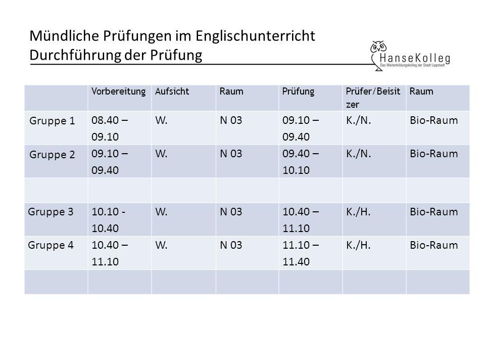 Mündliche Prüfungen im Englischunterricht Durchführung der Prüfung